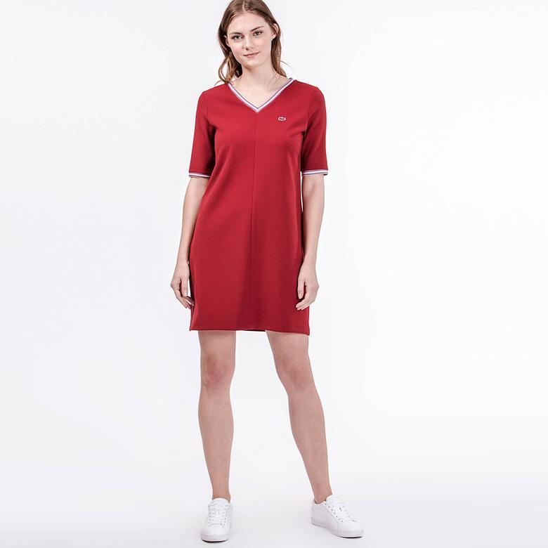 Lacoste Kadın Regular Fit Bordo Elbise
