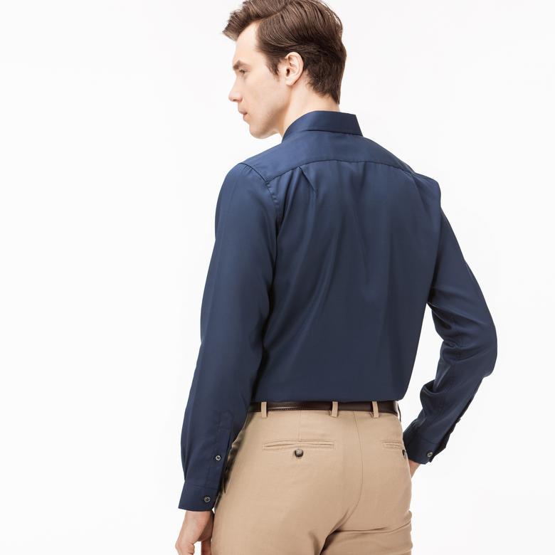 Lacoste Erkek Lacivert Uzun Kollu Slim Fit Gömlek