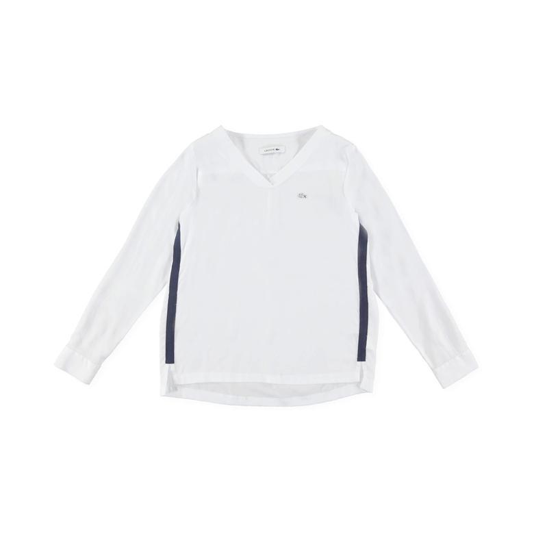 Lacoste Kadın Beyaz Uzun Kollu Bluz