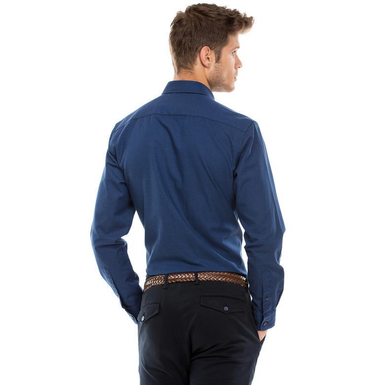 Nautica Erkek Mavi Uzun Kollu Slim Fit Gömlek