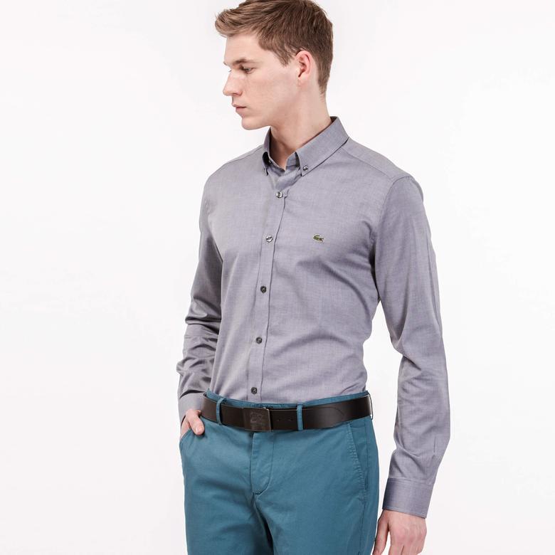 Lacoste Erkek Gri Uzun Kollu Slim Fit Gömlek