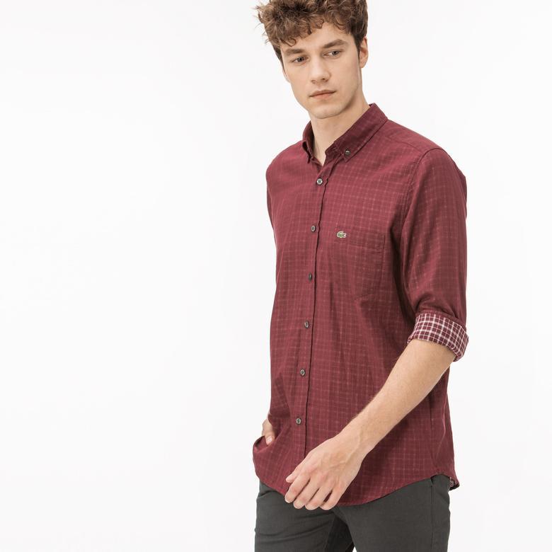 Lacoste Erkek Regular Fit Bordo Ters Kumaş Gömlek