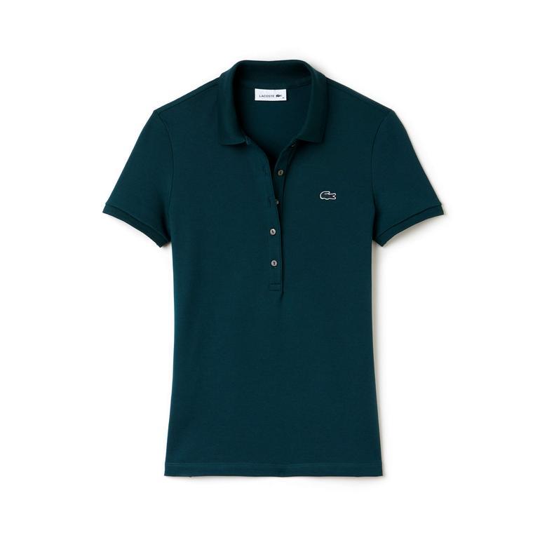 Lacoste Slim Fit Kadın Yeşil Kısa Kollu Polo