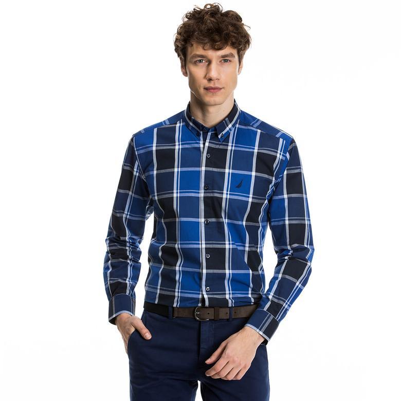 Nautica Erkek Mavi Kareli Uzun Kollu Gömlek