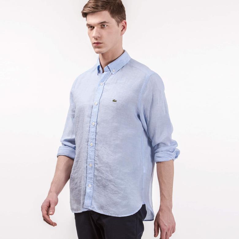 Lacoste Erkek Keten Mavi Regular Fit Gömlek