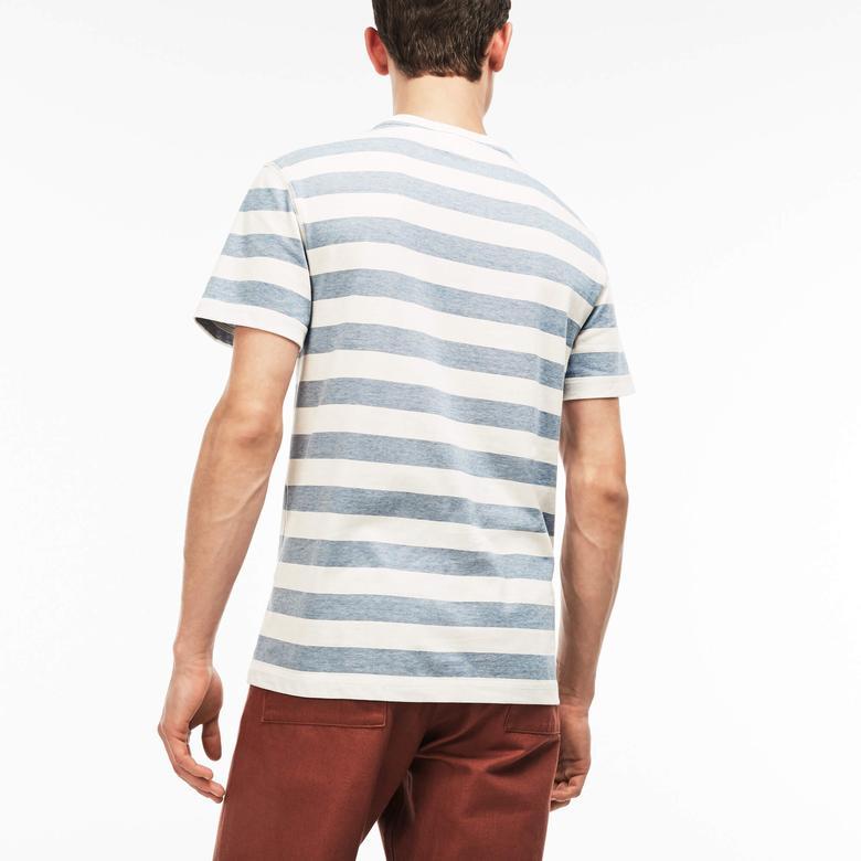 Lacoste Erkek Regular Fit Çizgili Mavi T-Shirt