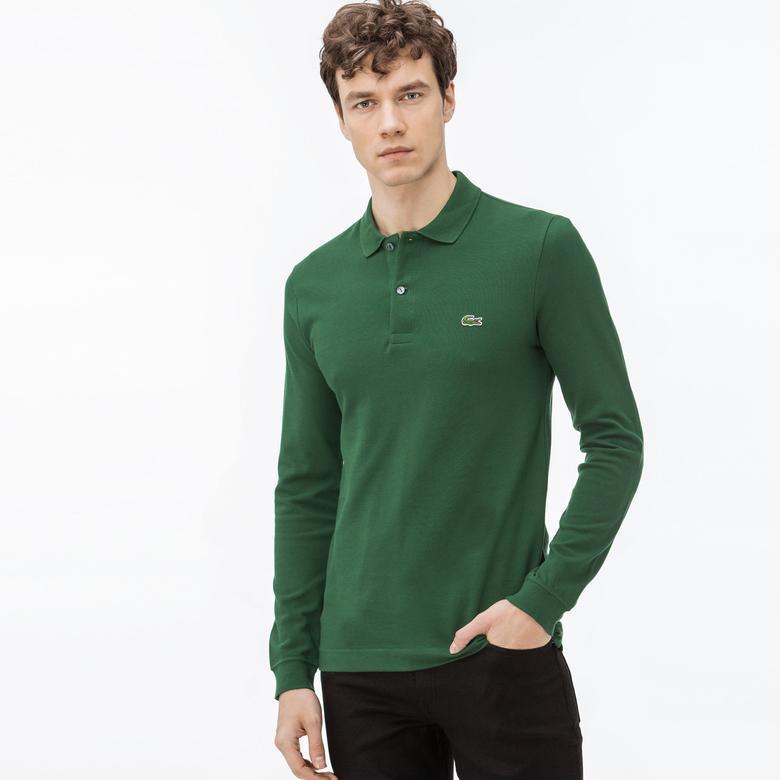 Lacoste Erkek Slim Fit Uzun Kollu Yeşil Polo