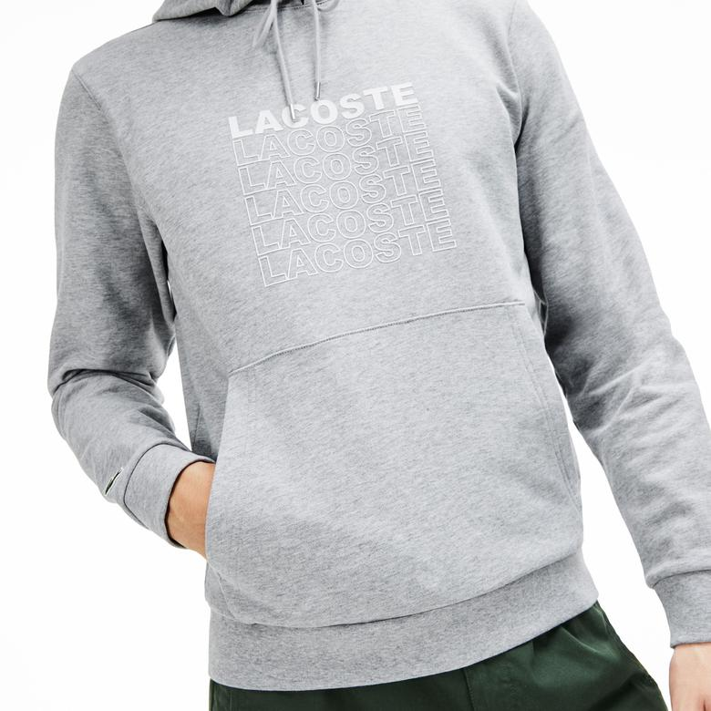 Lacoste Erkek Kapüşonlu Gri Sweatshirt