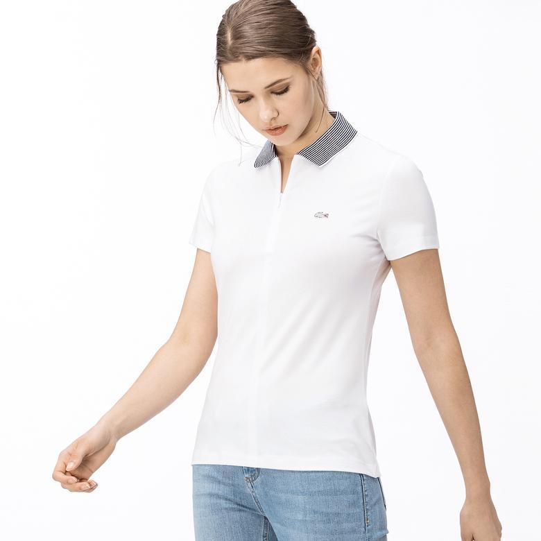 Lacoste Kadın Fermuarlı Beyaz Polo