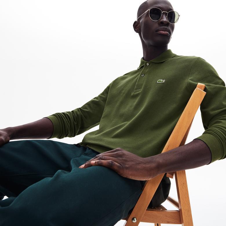 Lacoste Erkek Klasik Fit Uzun Kollu Yeşil Polo