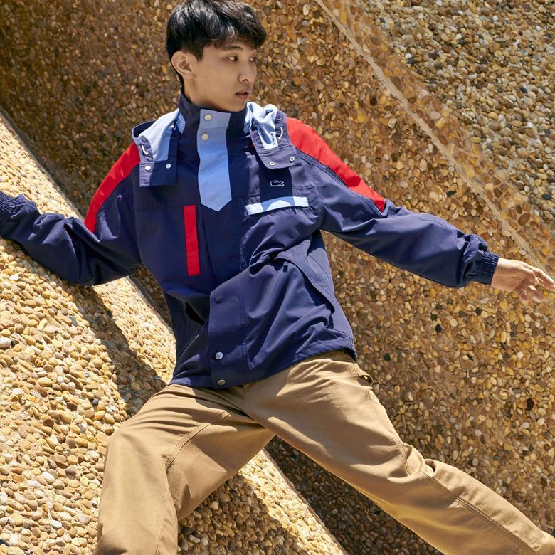 Lacoste Motion Erkek Blok Desenli Kapüşonlu Lacivert Mont