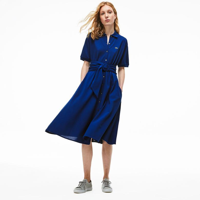 Lacoste Kadın Polo Yaka Mavi Elbise