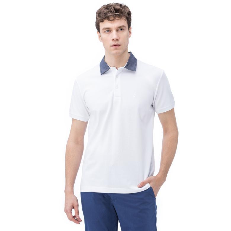 Nautica Erkek Beyaz Kısa Kollu Chambrey Yaka Slim Fit Polo