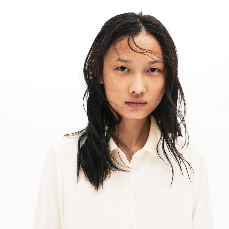 Lacoste Kadın Relax Fit Beyaz Gömlek