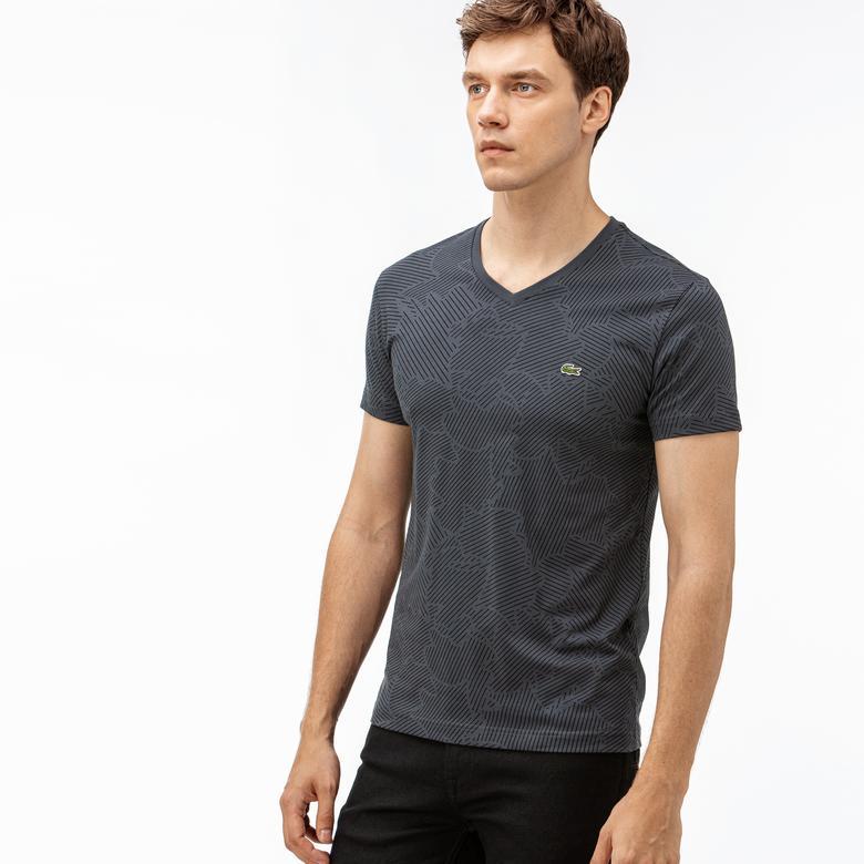 Lacoste Erkek Desenli V Yaka Gri T-Shirt