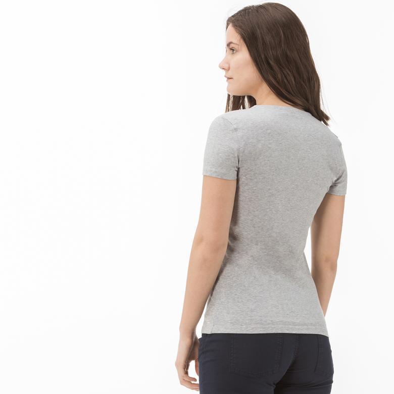 Lacoste Kadın Gri T-Shirt