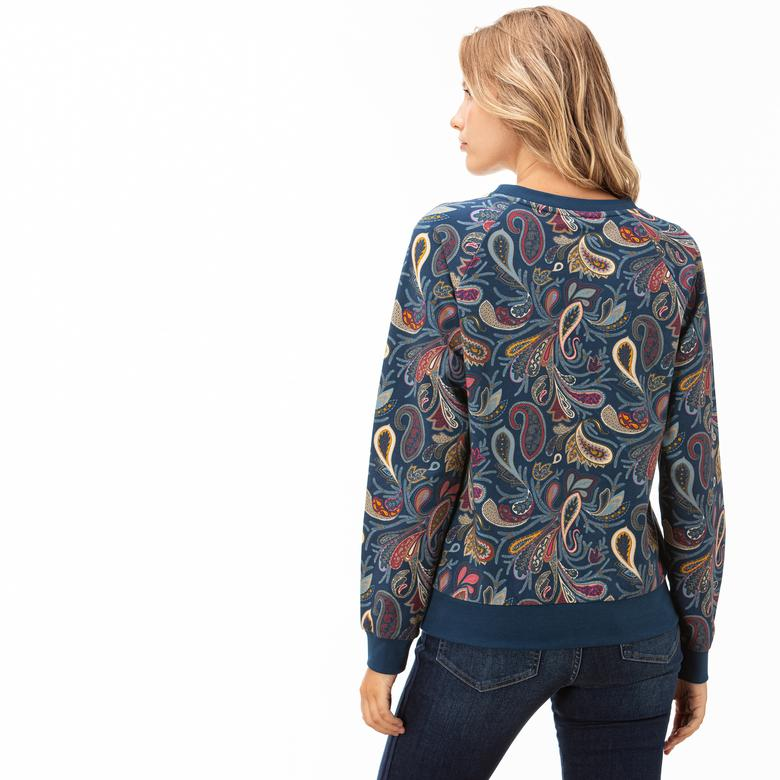 Lacoste Kadın Lacivert Desenli Sweatshirt
