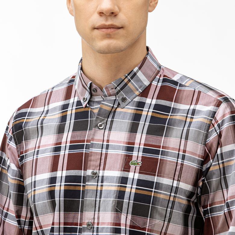 Lacoste Erkek Regular Fit Ekose Desenli Bordo Gömlek