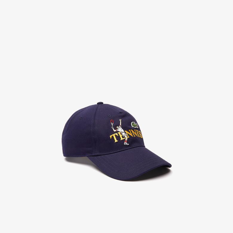 Lacoste L!VE Unisex Baskılı Lacivert Şapka