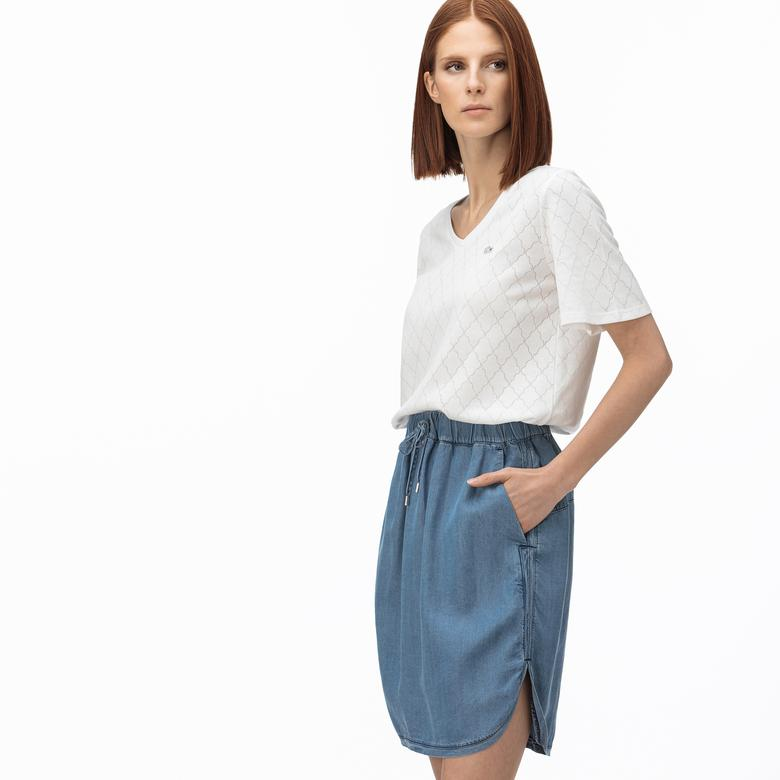 Lacoste Kadın V Yaka Desenli Beyaz T-Shirt