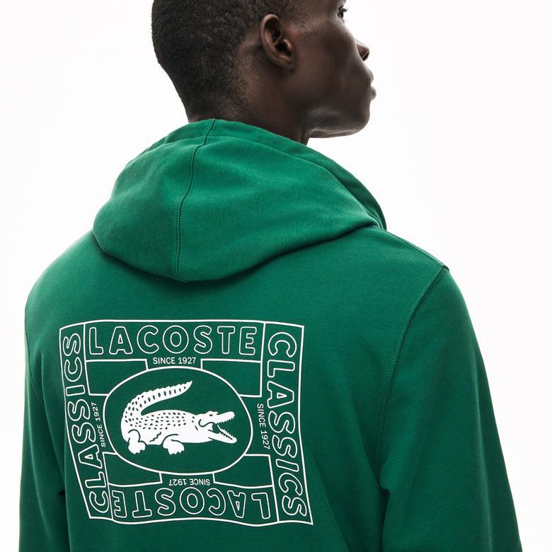 Lacoste Erkek Kapüşonlu Baskılı Yeşil Sweatshirt