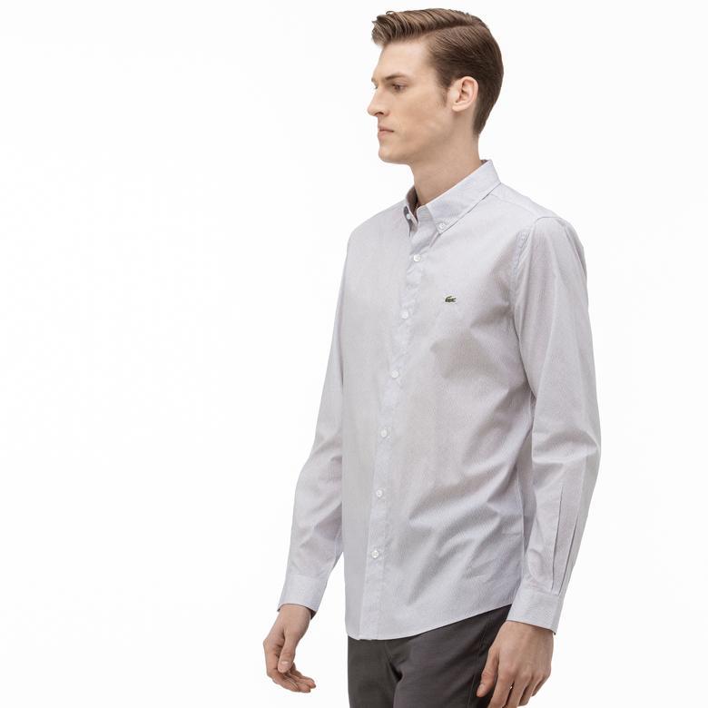 Lacoste Erkek Slim Fit Düğmeli Yaka Desenli Gri Gömlek
