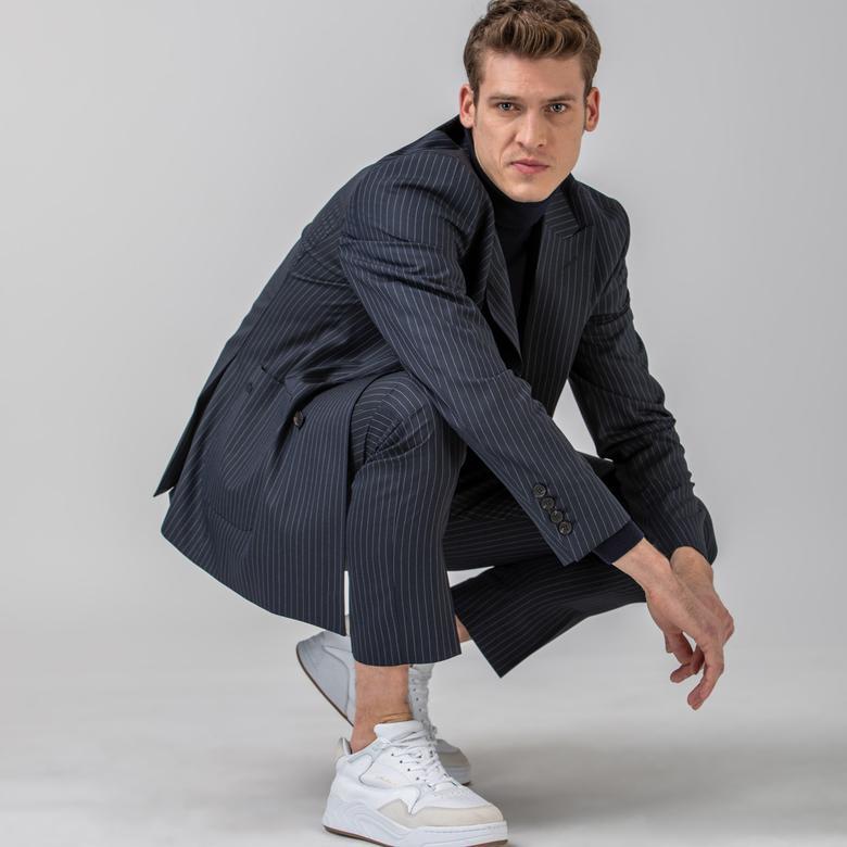Lacoste L!VE Erkek Çizgili Lacivert Pantolon