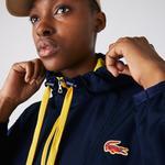 Lacoste Sport Kadın Kapüşonlu Suya Dayanıklı Lacivert Rüzgarlık